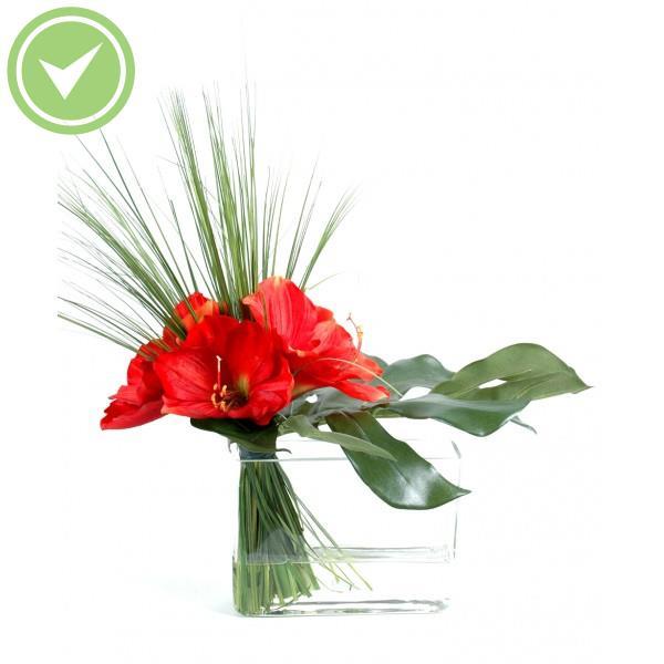 Bouquet amaryllis herbe bouquet artificiel maison et fleurs for Fleurs amaryllis bouquet